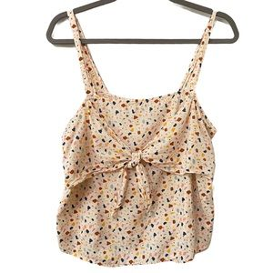 MADEWELL TIE-FRONT CAMI TOP IN TERRAZZO SIZE 10